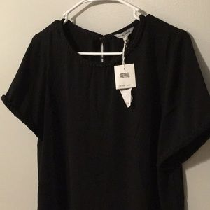 NWT BRAIDED DETAIL NECKLINE black blouse